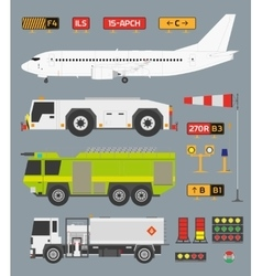 Airport infographic set with trucks vector image vector image