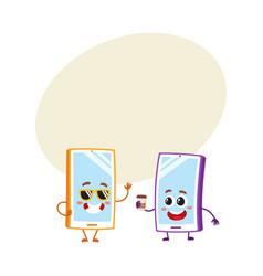 Cartoon mobile phone characters wearing vector