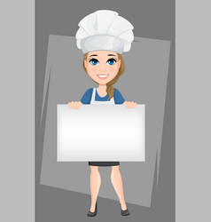 chef woman holding big blank banner cute cartoon vector image vector image