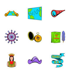 cruise travel icons set cartoon style vector image vector image