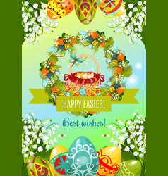 easter poster with egg hunt basket and flowers vector image