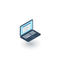 laptop computer notebook isometric flat icon 3d vector image vector image