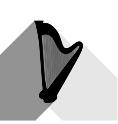 musical instrument harp sign black icon vector image vector image