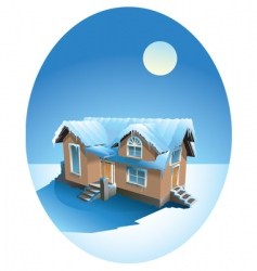 snow covered house in winter vector image vector image
