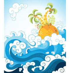 tropical island in the ocean in decorative style vector image vector image