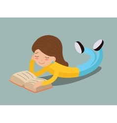 young girl happy smiling reading book lying on vector image vector image