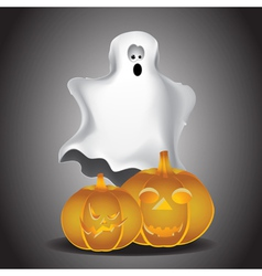 Ghost and pumpkins vector image vector image