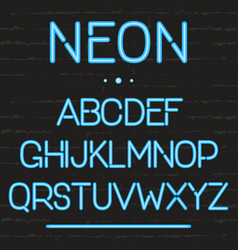 neon light alphabet glowing english letters for vector image