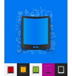 Tablet paper sticker with hand drawn elements vector