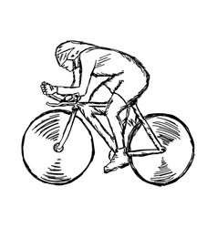 Track cycling - sketch hand drawn vector