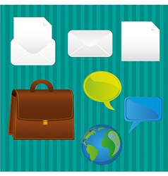 Business icons turquoise background lines contains vector