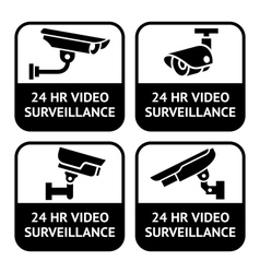 Cctv labels set symbol security camera pictogram vector