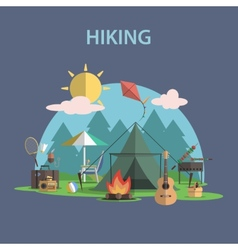 Hiking Concept Flat vector image vector image