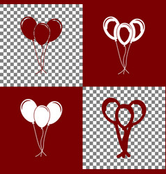 balloons set sign bordo and white icons vector image vector image