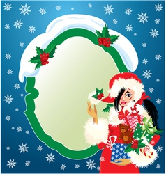 Brunette Christmas Girl wearing Santa Claus suit vector image vector image