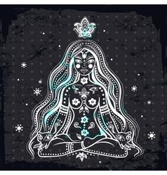 girl meditating vector image vector image