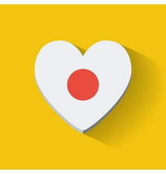 Heart-shaped icon with flag of Japan vector image vector image