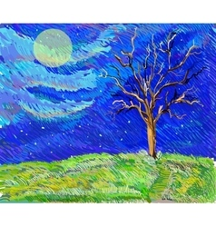 tree in a field in the moolight sketch landscape vector image