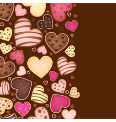 vertical chocolate background for text with heart vector image