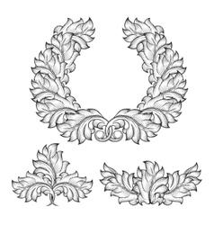 Vintage baroque floral leaf scroll ornament vector image vector image