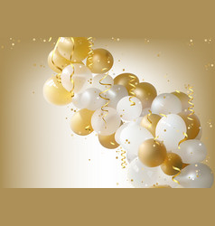White and gold party balloons background vector