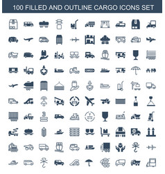100 cargo icons vector image