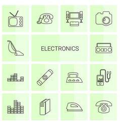14 electronics icons vector image
