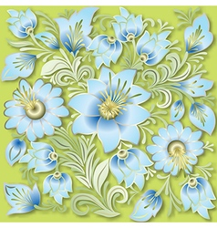 abstract vintage floral ornament on light green vector image