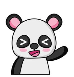 Adorable and cheerful panda wild animal vector