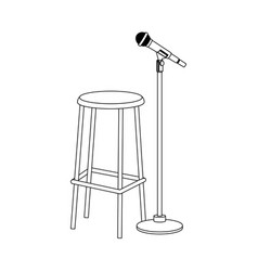 bar stool and microphone stand icon flat design vector image