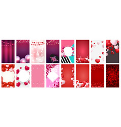 big collection valentines day love background vector image