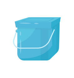 blue square plastic bucket with lid and metal vector image