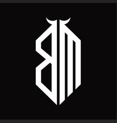 Bm logo monogram with horn shape isolated black vector