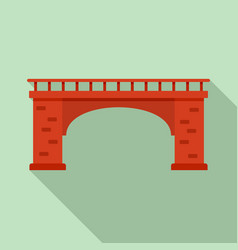 brick bridge icon flat style vector image