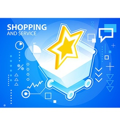 Bright star and shopping trolley on blue ba vector