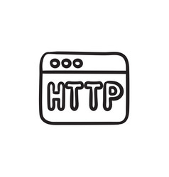 browser window with http text sketch icon vector image