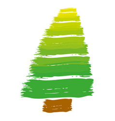 Brush stroke color pine tree art image vector