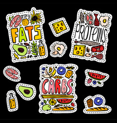 Carbohydrates fats and proteins vector