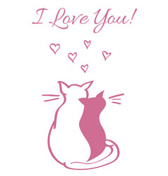 Card with valentine s day concept two cats vector