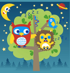 cartoon sleeping time with owl and friends vector image