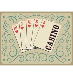 Casino calligraphic vintage style poster vector image
