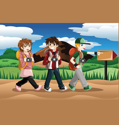 children going on an adventure vector image