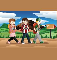 Children going on an adventure vector