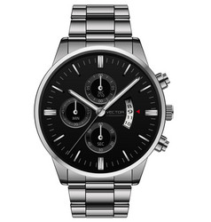clock watch stainless steel black face luxury vector image