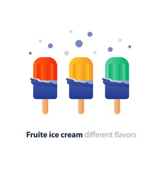 Colorful ice cream on stick flavor variety cool vector