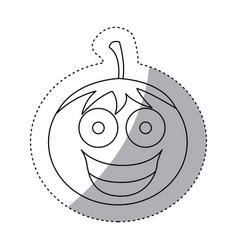 contour kawaii happy tomato icon vector image