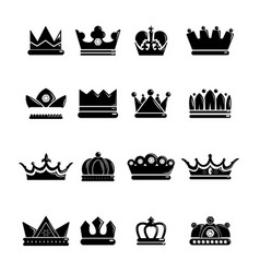 Crown gold icons set simple style vector