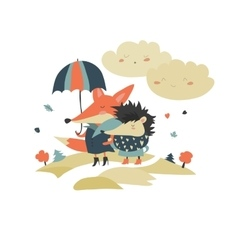 Cute fox and hedgehog walking under umbrella vector image