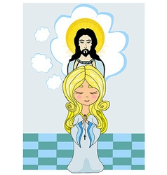 Cute little girl Praying to Jesus vector image