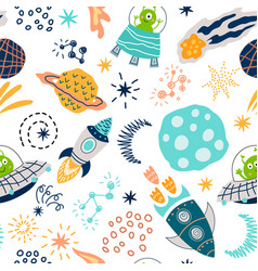 Cute seamless pattern with funny aliens characters vector